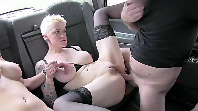 Dirty sluts Debby Pleasure and Paula Ula team up for the drivers' dick