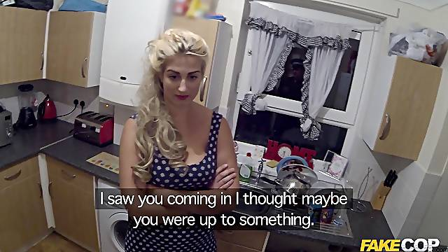 Chubby blonde lifts her miniskirt to be fucked by the police man