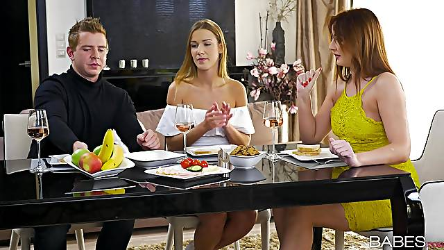 Wild FFM threesome with nice ass Eva Berger and Alexis Crystal