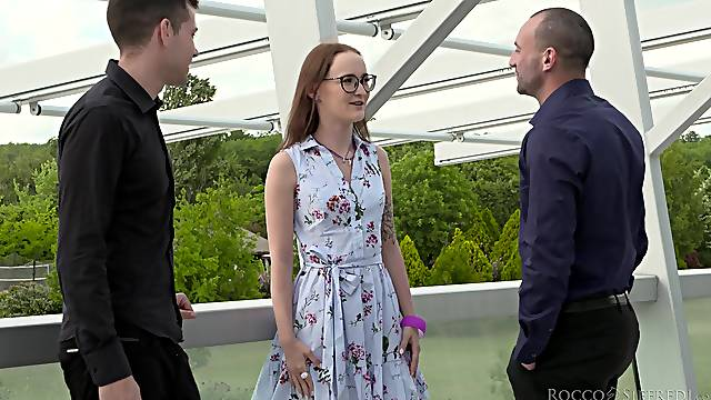 Double penetration MMF threesome with shy chick Sasha Sparrow