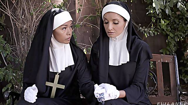Naughty nun Silvia Saige takes two hard dicks in her wet holes