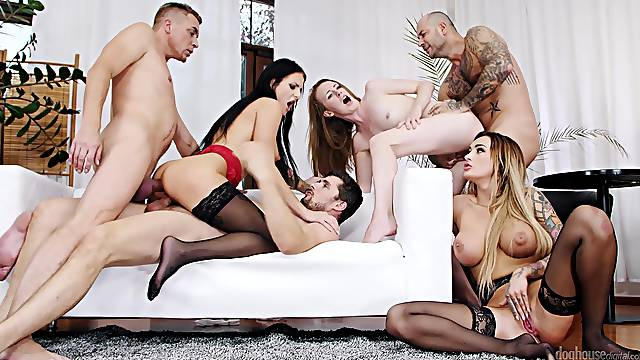 Wild group sex party with anal loving pornstars like Daisy Lee