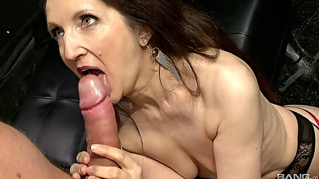 Hardcore fucking between a younger lover and mature Gilly Sampson