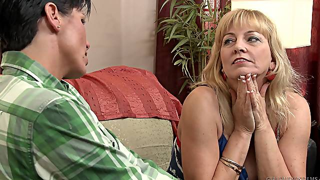 Nice lesbian sex between matures Cindy Craves and Shay Fox