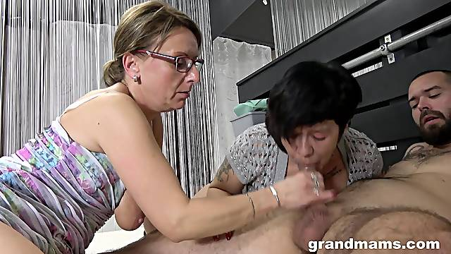 Nasty mature sluts battle over one younger dick and want more