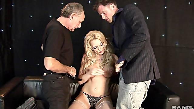 Busty blonde pornstar Antonia Deona fucked by two horny dudes