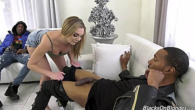 Blonde whore Tiffany Watson enjoys having sex with two black dicks