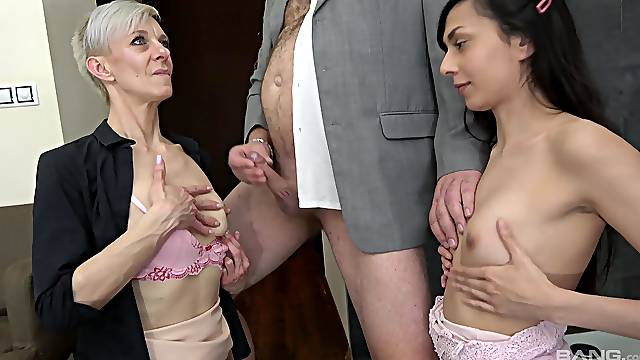 Younger couple enjoys having sex with old people - Lada Sandrova
