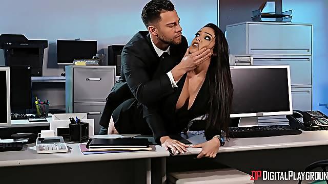 Office threesome with pornstars Jane Wilde and Katana Kombat