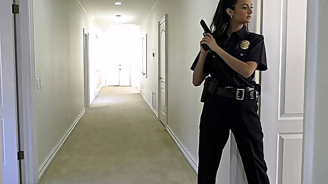 Hardcore fucking between two black dudes and police officer Cali Carter