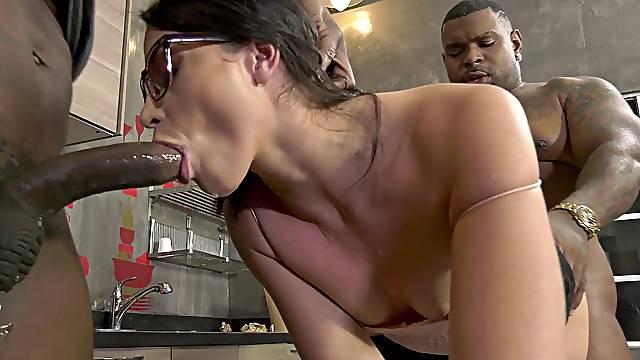 Old guy masturbates while two black dudes fuck his wife Avi Love