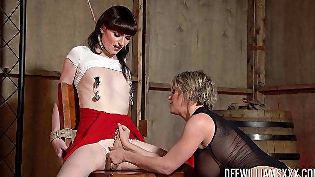Skinny shemale Natalie Mars tied up and tortured by Dee Williams