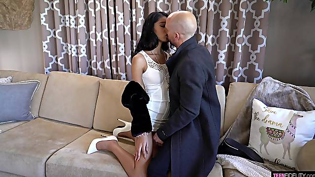 Skinny Asian pornstar Jada Doll gets fucked by a large white dick