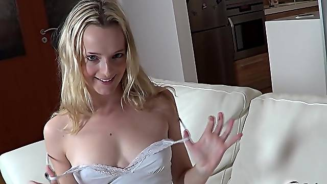 Amateur fucking at home with small tits blonde wife Amy Pink