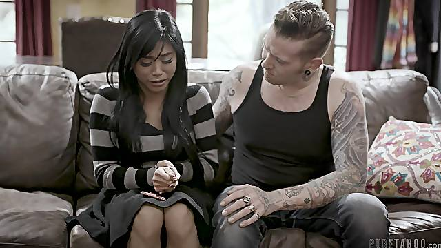 Hardcore fucking between a tattooed dude and cute Asian Ember Snow