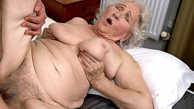 Granny Norma B on her hands and knees getting fucked balls deep