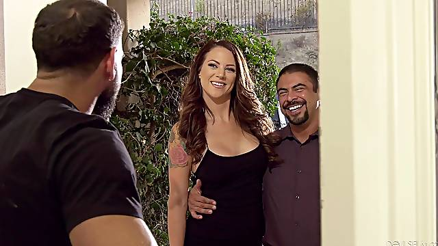 Muscular man with a stiff dick shares his GF Audrey with his friend