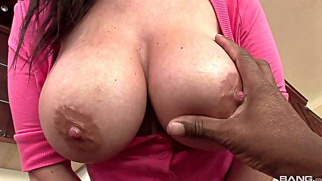 Busty mature Sophie Dee opens her legs for a large black dick