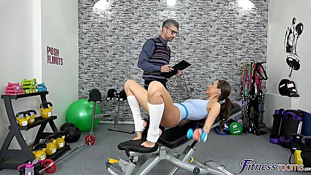 Fucking in the gym with natural boobs fit model Tina Kay. HD