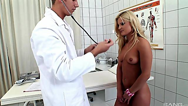 Closeup kinky video of Choky Ice getting poked by a doctor