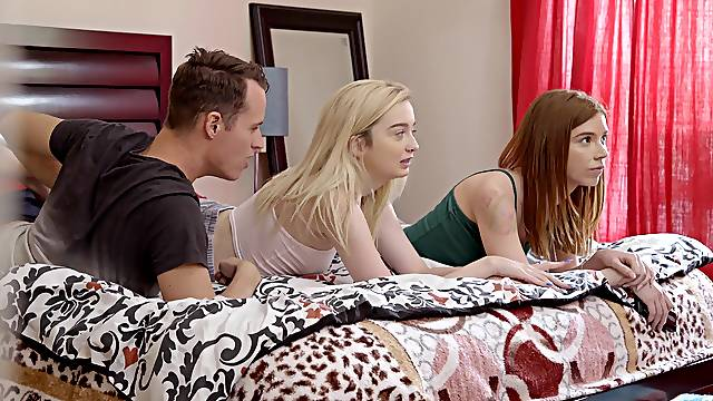 Sensual FFM lovemaking with room-mates Lexi Lore and Pepper Hart