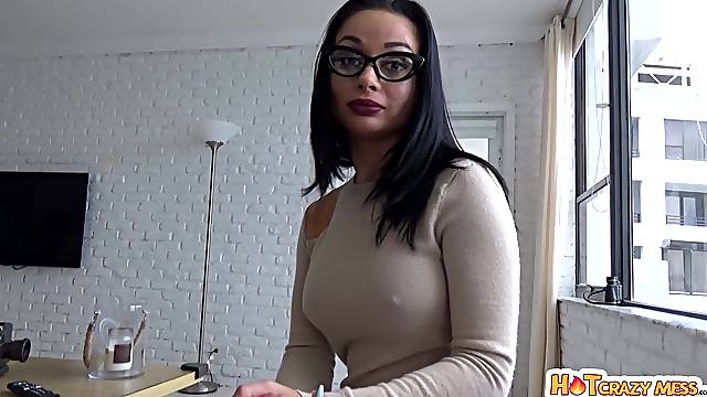 POV video of handsome brunette Crystal Rush sucking and getting fucked
