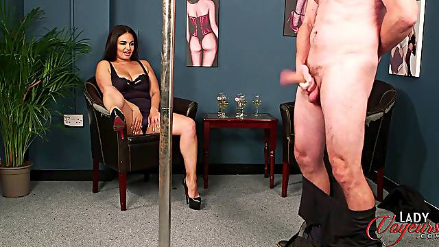 Busty brunette Becky B opens her legs to help a dude ejaculate