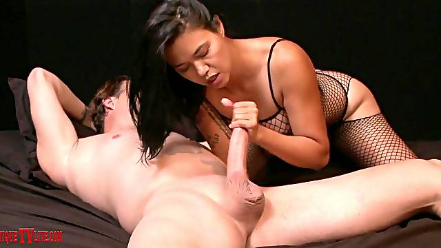 Kinky babe Dana Vespoli in fishnet moans during hardcore sex