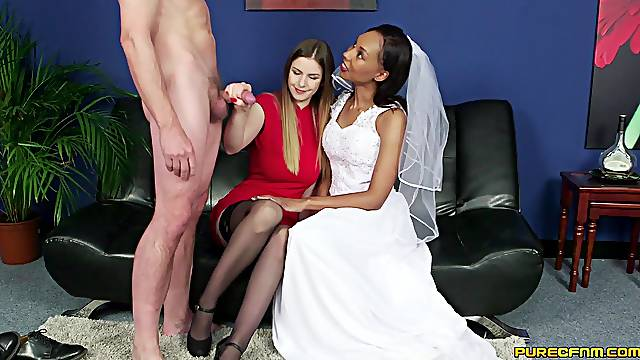 Sexy bride Sade Rose shares a dick with sexy babe Stella Cox