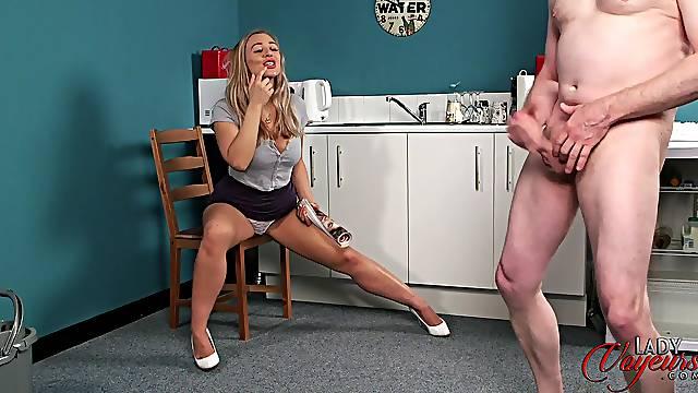 Naughty chick Beth Bennett enjoys watching a stranger jerking off