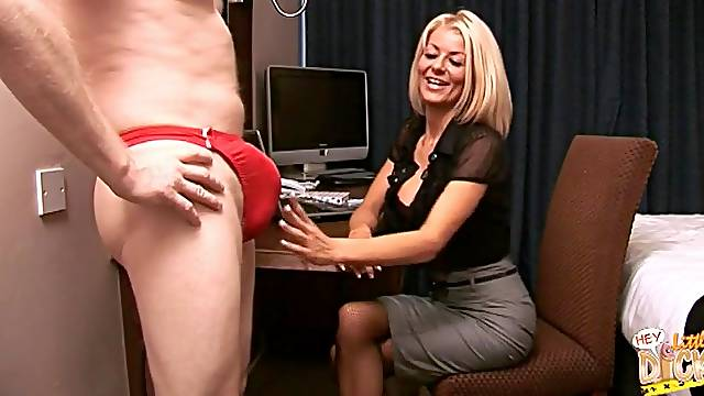 Blonde secretary Tia Layne takes a dick in her mouth and makes him cum