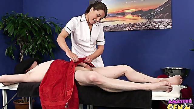 Sensual massage ends with a sloppy blowjob by Savannah Secret