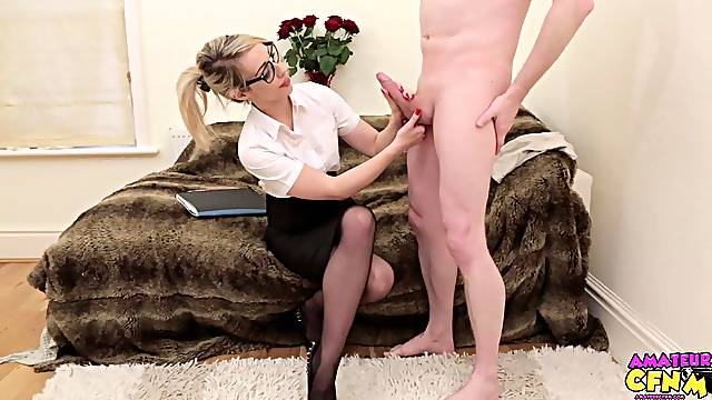Naughty blonde babe Chessie Kay drops on her knees to suck a dick