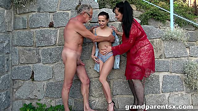 Dirty outdoors foursome between a younger and an older couple