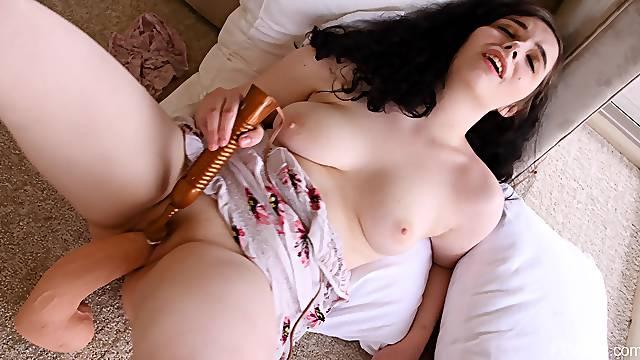 Dirty brunette Francine enjoys fucking her cunt with a huge dildo