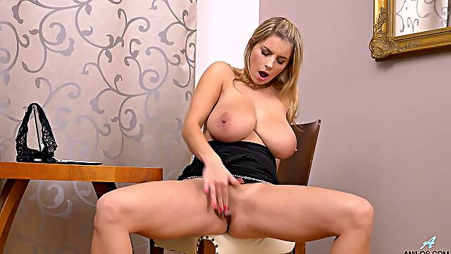 Solo blonde mature Katarina Hartlova opens her legs to masturbate