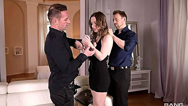 Dirty girlfriend Lilith Sweet fucked by her BF and his best friend