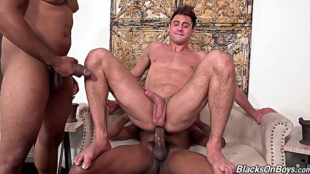 Handsome dude gets his ass and mouth fucked by two black dudes