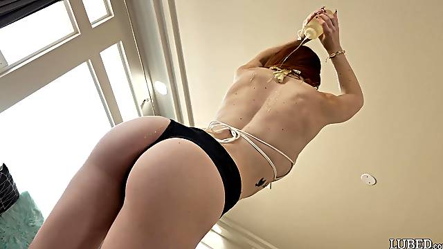 Closeup video of wild fucking with oiled redhead Nala Brooks
