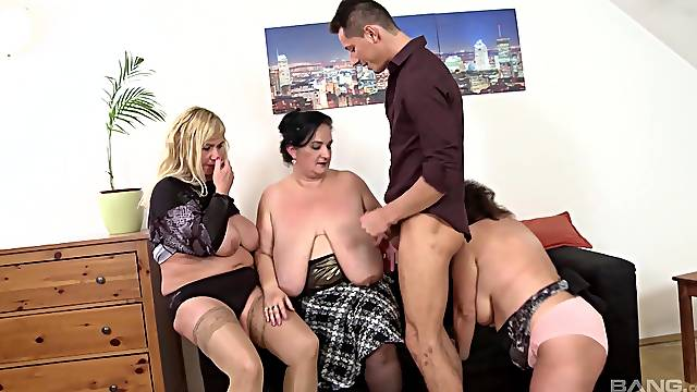 Chubby cougars drop their clothes to have sex with one handsome man