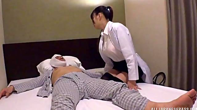 Natural boobs Japanese nurse drops her clothes to ride a patient