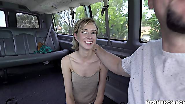 Quickie fucking in back of the van with small boobs Haley Reed