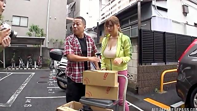 Busty Japanese chick knows how to pleasure a dick and makes him cum