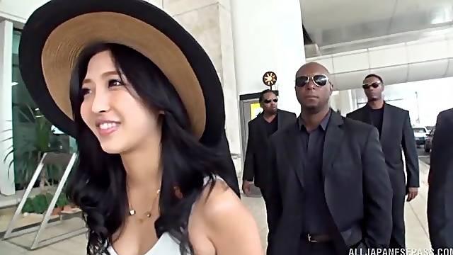 Kinky outdoors video of pretty Mizuki Miri sucking a black dick
