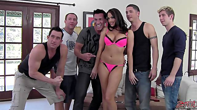 Horny pornstar Chanel Preston gets ready for a massive gangbang