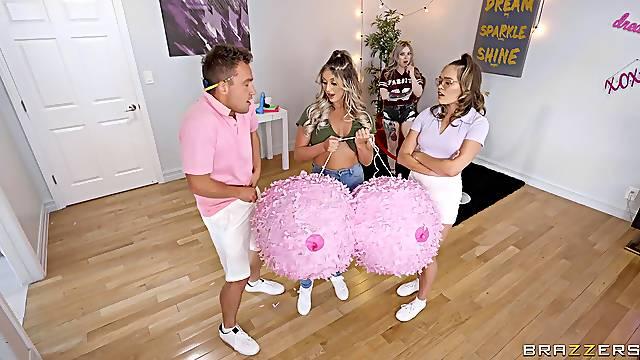Smooth FFM threesome with best friends Katie Kush and Kayley Gunner