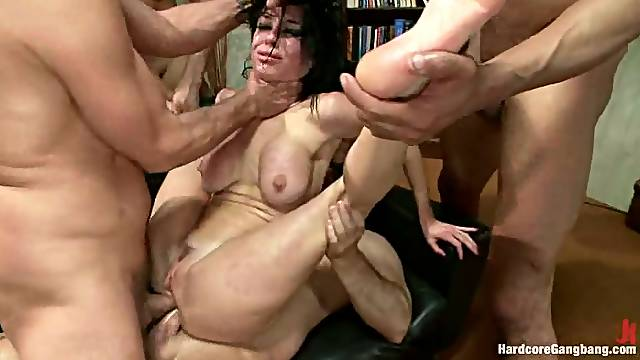 Several Cocks Double Penetrate Veronica Avluv in Office Gangbang
