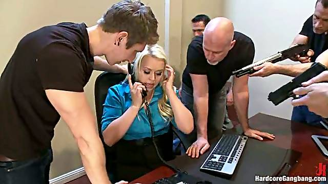 Blonde Office Lady Adison Asher Abused in Crazy Gangbang