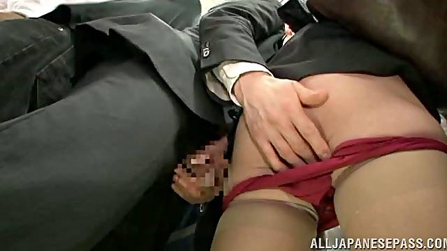Japanese woman gets fucked and fingered in a subway train