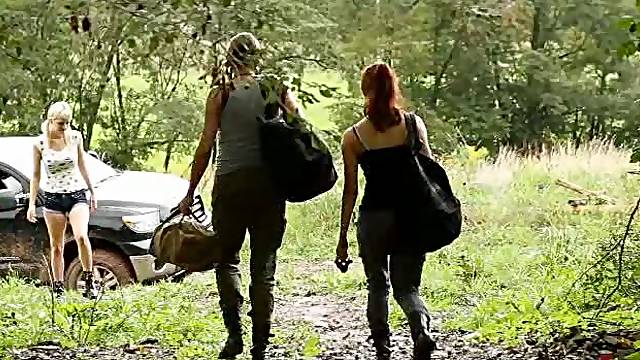 Cute Blonde And Redhead Outdoor Reality Action